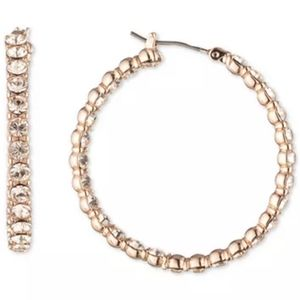 Givenchy Rose Gold Pave Medium Hoop Earrings